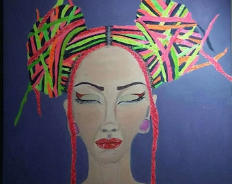 Boho lady, original acrylic painting