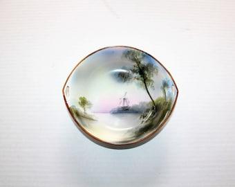 Vintage Noritake Bowl Hand painted Windmill Scene