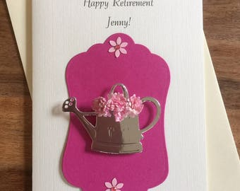 Handmade Personalised Retirement card, floral watering can design female for her