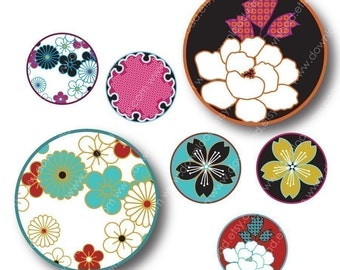 Japanese Kimono 1 Inch Circles, Digital Collage Sheet, Download and Print Jpeg Clip Art Images