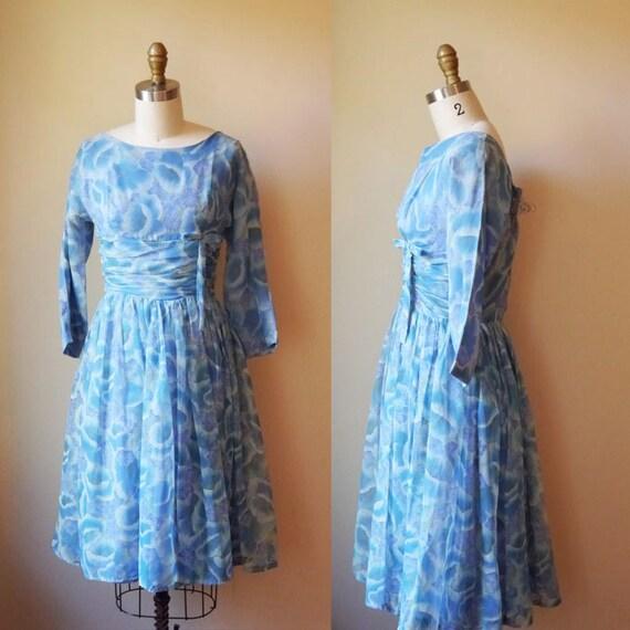 1950s Blue Sky floral dress// tea party // vintage dress