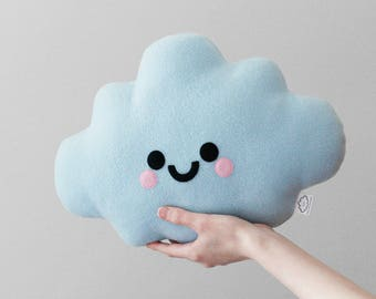 Blue Cloud Cushion, Baby Blue, Plush Pillow, Kids Room, Soft Fleece Happy Plushie