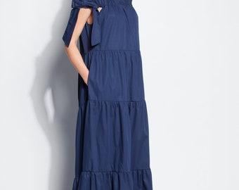 Navy Blue Maxi dress/ boho dress/ Trendy Plus size clothing/  plus size dress/ Plus size summer dress/ plus size boho maxi dress/ 126.259