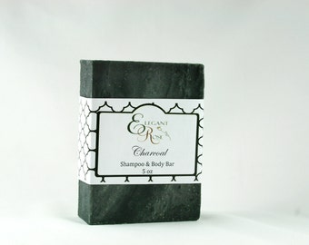 Charcoal Shampoo & Body Soap Bar  - Natural Conditioning Shampoo Bar - Solid Shampoo Bar