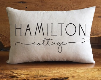 Personalized Family Cottage Pillow, Cottage Home Decor, Personalized With Family Name, Cotton Linen Pillow, Housewarming Gift