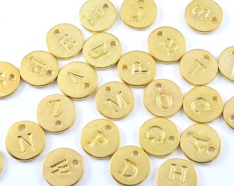 Gold Alphabet Charms, Full Set Initial Charms,  12 mm  (187G)