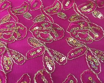 Fuschia Flowers and Butterfly Embroidery Flowers with Scallopped Edge Sequins