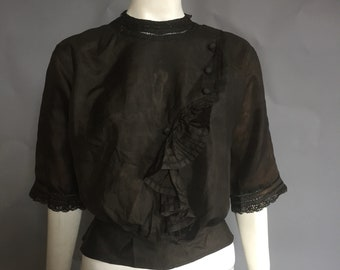 Edwardian blouse / black silk blouse