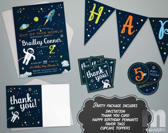 Outer Space Party Package Printable Birthday Party Pack, Party Favors, Invitation, Thank You Card, Favor Tag, Cupcake Topper, Pennant Banner