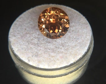 NATURAL 5.10ct Loose Champagne Cognac Topaz Round Diamond Cut Gem 10mm