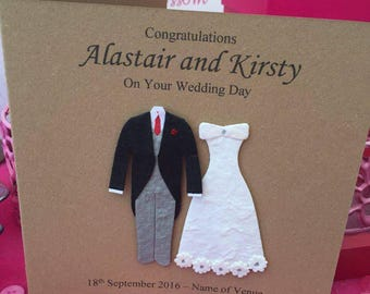 Congratulations Wedding Card Couple, Bride and Groom, Wedding Day Card, Bride and Groom Wedding Card