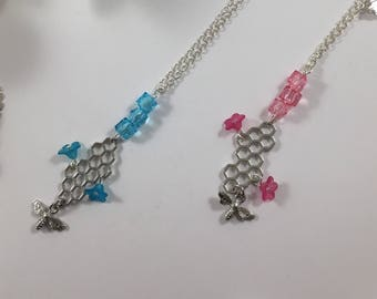 Bee and flower pink or blue necklace