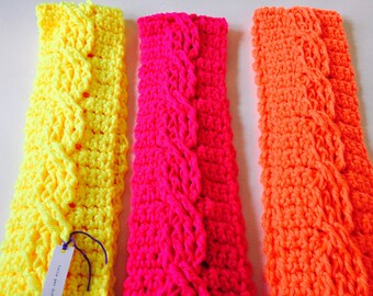 Neon Orange Cable Knit Crochet Scarf