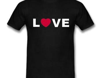 Black t-shirt message love heart