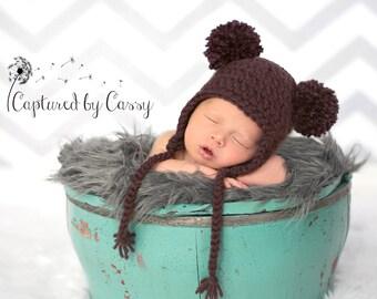 Brown Baby Bear Hat, Newborn Earflap Beanie