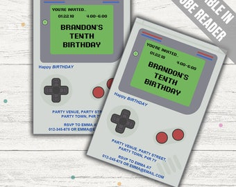 Retro Video Game Party Invitation. Editable PDF. Printable. Instant Download.