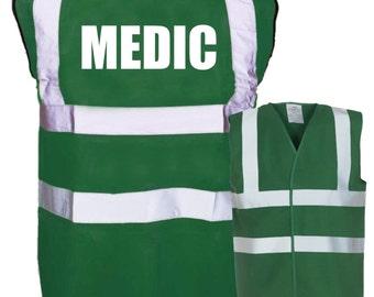 MEDIC Printed Green Enhanced Safety Vest Waistcoat Hi Viz/Vis Visibility Workplace/Business/Hospital/Festival/Event