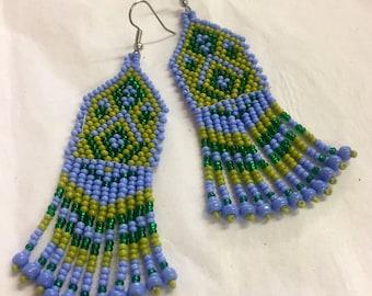 Periwinkle and Green bead earrings