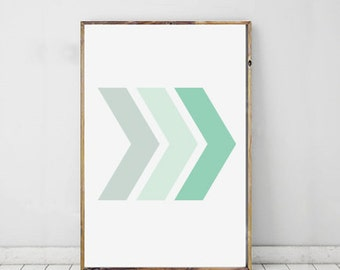 Chevron Art Print Geometric, Mint Chevron Wall Print, Chevron Modern Art, Geometric Print, Shape Print, Modern Art For Home