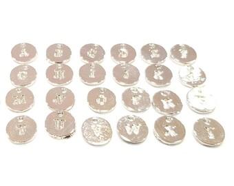 Alphabet Letter Charms Shiny Silver Alphabet Charms 10mm , Shiny Silver Plated Charms G9573
