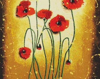 Poppy Cross Stitch Kit, Helen Janow Miqueo ' Red Poppies ',Counted NeedleCraft Set, Modern Flower Art,