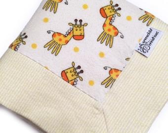 Giraffe Baby Blanket, Flannel Blanket, security blanket, lovey blanket, nursing blanket, baby gift