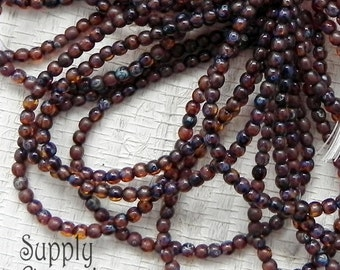Dark Amber Czech Glass 3mm Smooth Round Druk Beads - 50 beads - 2336 - Dark Amber 3mm Round Beads