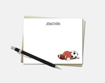 Personalized Sports Note Cards - Sports Note Cards - Set of 10 - Flat Note Cards - Stationery for Boys - Custom Sports Balls Note Cards