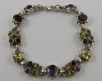 "Ladies 7"" Sterling Silver Multi Stone Bracelet"