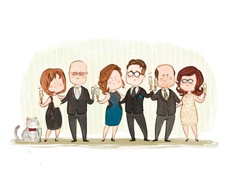 Custom family portrait, from 4 to 6 characters//perfect as a birthday gift, anniversary gift, mother's day