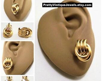 Avon Door Knocker Hoop Pierced Stud Earrings Gold Tone Vintage Winding Tube Rings Surgical Steel Posts