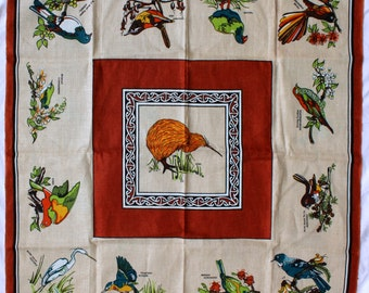 Birds of New Zealand Tablecloth - Flax Linen - Colorful Birds - Square