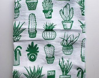 Green Succulents Hand Screen Printed Tea Towel Cotton Flour Sack - Art Kitchen - 28x29 inches