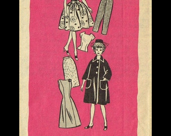 "BARBIE Vintage 11 1/2"" Fashion Doll Dress Frock Fabric Sewing Pattern MAIL ORDER # 9499 Betty Tina Bild Lilli Peggy Ann Tammy Uneeda Popi"