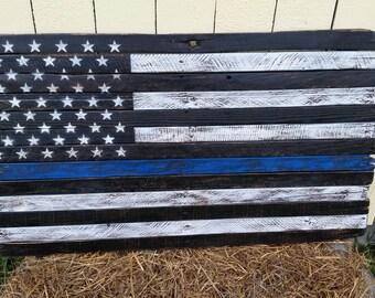 Thin Blue Line Flag, Rustic pallet flag,