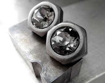 Mens Hex Nut Stud Post Earrings - Black Diamond Swarovski Crystal, Matte Gunmetal, Hardware Jewelry, Gift for Dad, Father, Husband, Unisex