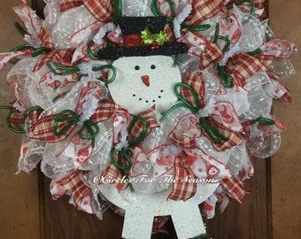 Snowman wreath, winter wreath, deco mesh wreath, front door wreath, holiday wreath, snowman decoration
