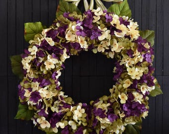 Purple Blended Hydrangea Spring and Summer Front Door Wreath