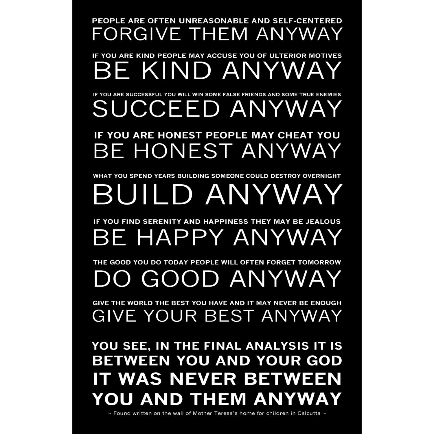 Mother Teresa Quotes Love Anyway Mother Teresa's Do It Anyway Poem Available Sizes