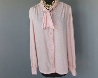Vintage 1970s Blouse, Investments, Pink Secretary Blouse, Bow Tie Blouse, Polyester, Size 12