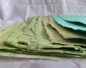 Green Handmade Recycled Paper Sheets