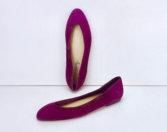 vintage shoes, 80s womens shoes, slip ons size 8, ballet flats, pointed toe flats, purple suede leather, toe cleavage skimmer,Rafferty shoes