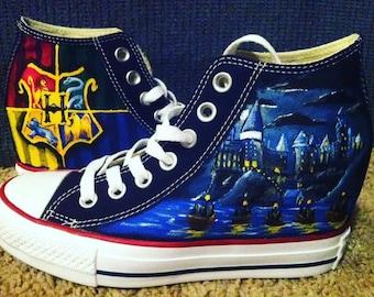 Hand Painted Harry Potter Shoes  - Hogwarts Crest/ Hogwarts Castle