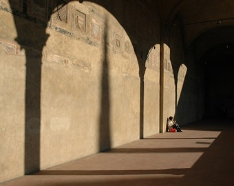 Florence, Italy, Cloisters, Wall Art, Home Decor, Travel Photography, Medieval, Architecture, Arches, Fine Art Print