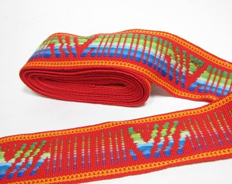 Vintage Sewing Trim 60's 70's Woven Colorful Red 2 Inches Wide 4 Yards Supply