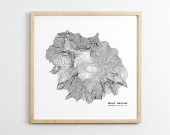 Mt. Rainier Washington Art Print - Topographic Map