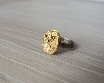 Steampunk ring // Golden watch movement ring
