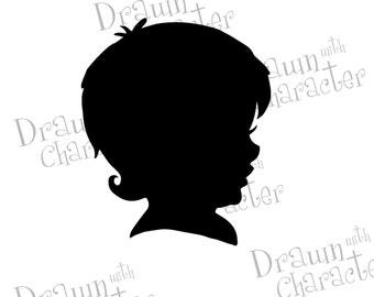 Baby Boy Silhouette Digital Stamp Art/ KopyKake Image- S20-BBSIL