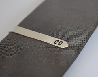Tie Clip - Personalised Tie Pin - Silver Tie Bar - Hand Stamped Tie Clip - Tie Pin for Groom Best Man Groomsman - Solid Silver Tie Pin - UK