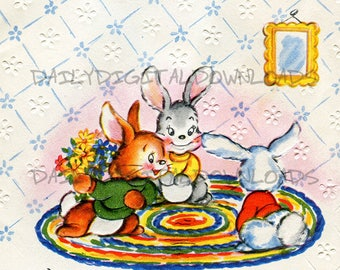 Retro Easter Bunny Rabbits Vintage Greeting Card Art Illustration Graphic Design Digital Download